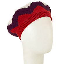 Buy John Lewis Geometric Chevron Beret, Red/Multi Online at johnlewis.com