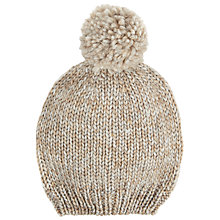 Buy John Lewis Soft Marl Roll Beanie Hat, Natural Online at johnlewis.com