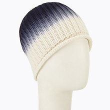 Buy John Lewis Ombre Ribbed Beanie Hat, Blue/Cream Online at johnlewis.com