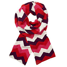 Buy John Lewis Geometric Chevron Print Scarf, Red/Multi Online at johnlewis.com