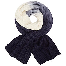 Buy John Lewis Ombre Ribbed Scarf, Blue/Cream Online at johnlewis.com