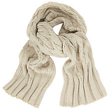 Buy John Lewis Stripe Cable Knit Scarf, Light Grey Online at johnlewis.com