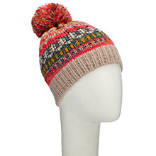 Buy Jown Lewis Christmas Fairisle Beanie Hat, Neon/Multi Online at johnlewis.com
