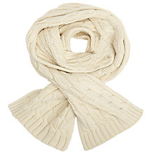 Buy John Lewis Rope Cable Knit Scarf, Cream Online at johnlewis.com