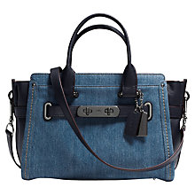 Buy Coach Swagger Leather Carryall Bag, Denim Online at johnlewis.com