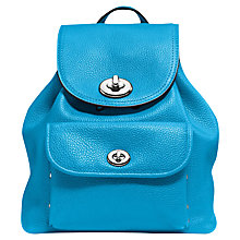 Buy Coach Mini Turnlock Leather Rucksack, Azure Online at johnlewis.com
