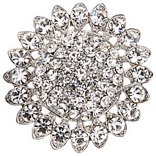 Buy John Lewis Glass Crystal Round Brooch, Silver Online at johnlewis.com