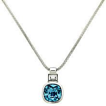 Buy Finesse Glass Crystal Pendant Necklace, Silver/Sapphire Blue Online at johnlewis.com