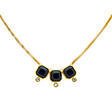 Buy Monet Glass Crystal Triple Necklace, Gold/Indigo Online at johnlewis.com