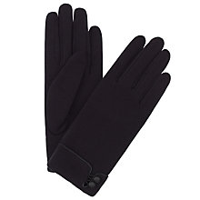 Buy John Lewis Jersey Button Gloves, Black Online at johnlewis.com