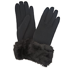 Buy John Lewis Faux Fur Jersey Gloves, Black Online at johnlewis.com