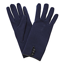 Buy John Lewis Jersey 3 Button Gloves, Navy Online at johnlewis.com