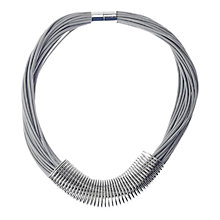Buy Adele Marie Faux Leather Multi Strand Flat Wire Coil Necklace, Silver/Grey Online at johnlewis.com