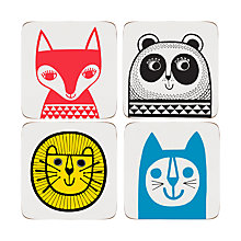 Buy Jane Foster Animal Coasters, Set of 4, Assorted Designs Online at johnlewis.com