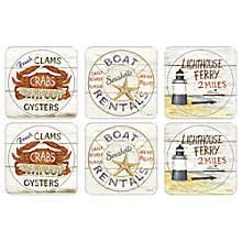 Buy Pimpernel Coastal Signs Coasters, Set of 6 Online at johnlewis.com