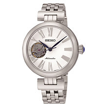 Buy Seiko SSA863K1 Women's Mechanical Skeleton Bracelet Strap Watch, Silver/White Online at johnlewis.com