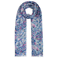 Buy John Lewis Butterfly Print Scarf, Blue Online at johnlewis.com