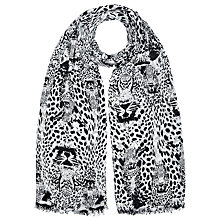 Buy John Lewis Tiger Print Scarf, Black/White Online at johnlewis.com