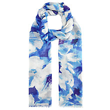Buy John Lewis Large Watercolour Floral Scarf, Blue Online at johnlewis.com