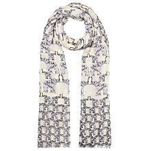 Buy John Lewis Hi There Elephant Print Scarf, Cream Online at johnlewis.com