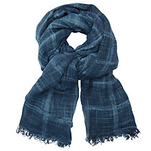 Buy John Lewis Weekend Texture Square Print Scarf, Navy Online at johnlewis.com