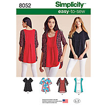 Buy Simplicity Women's Tops Sewing Pattern, 8052 Online at johnlewis.com