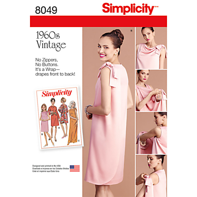 1960s Sewing Patterns- Dresses, Tops, Pants etc Simplicity Womens Vintage Dress Sewing Patter 8049 £4.47 AT vintagedancer.com