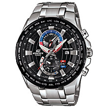 Buy Casio EFR-550D-1AVUEF Men's Edifice Chronograph Day Date Bracelet Strap Watch, Silver/Black Online at johnlewis.com