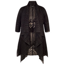 Buy Chesca Border Lace Crush Pleat Waterfall Shrug, Black Online at johnlewis.com