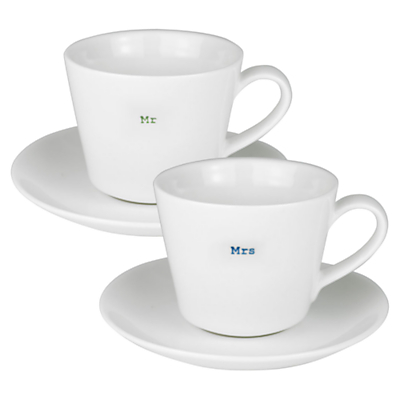 Keith Brymer Jones Word Mr & Mrs Espresso Cup & Saucer, Set of 2