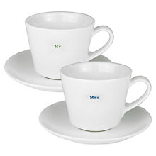 Buy Keith Brymer Jones Word Mr & Mrs Espresso Cup & Saucer, Set of 2 Online at johnlewis.com