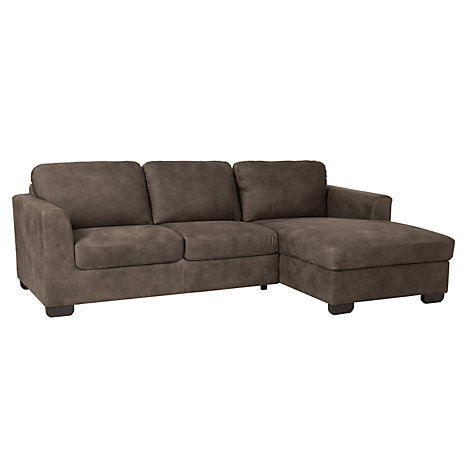 Buy john lewis cooper rhf leather chaise end sofa with for Chaise end sofa