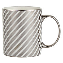 Buy John Lewis Stripe Mug, Silver / White Online at johnlewis.com