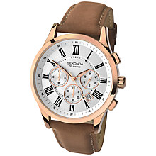 Buy Sekonda 1144.27 Men's Chronograph Date Leather Strap Watch, Brown/White Online at johnlewis.com
