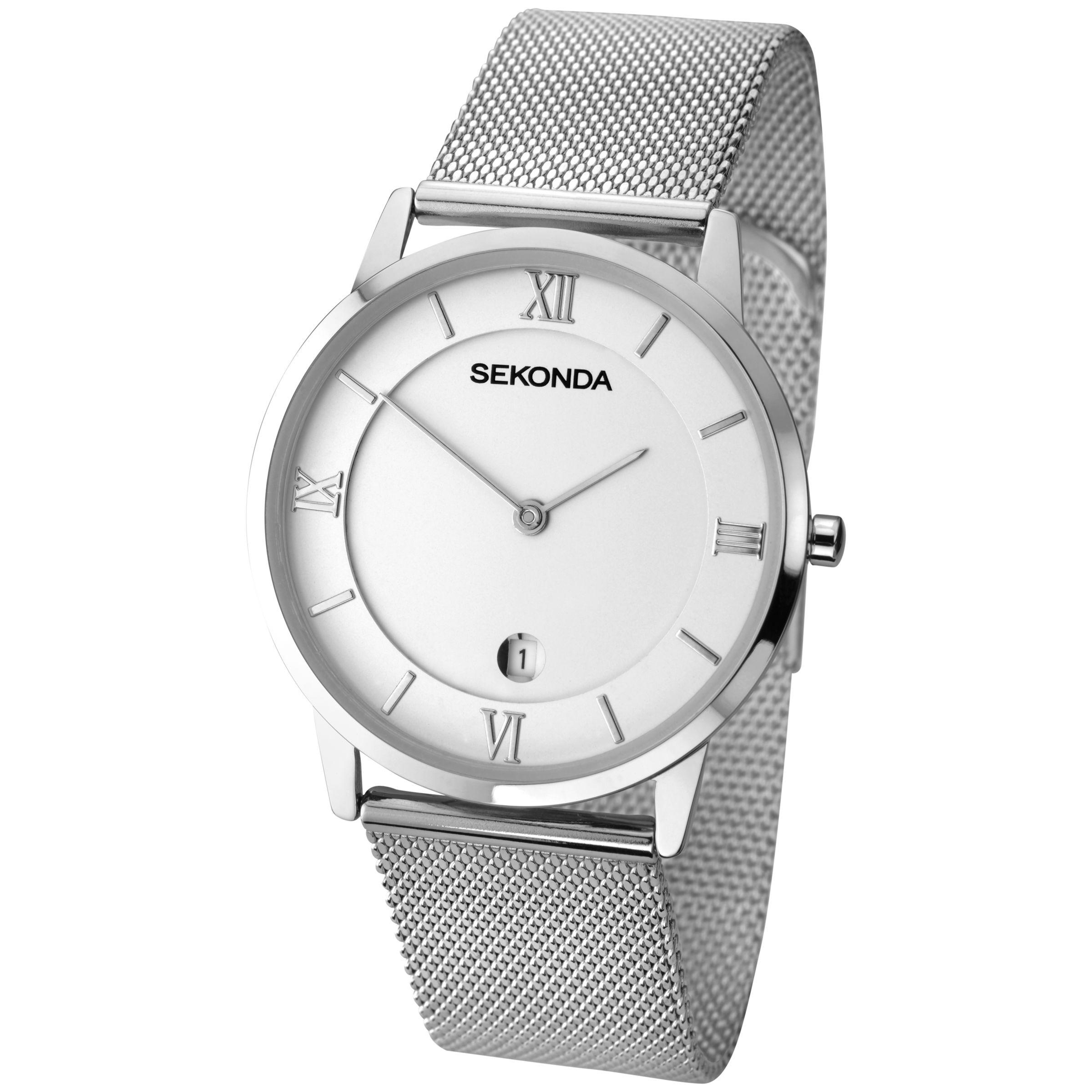Sekonda Sekonda Men's Date Mesh Bracelet Strap Watch, Silver/White