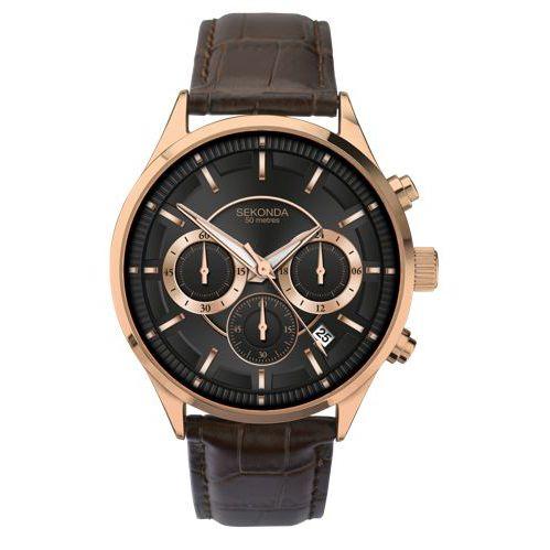 Sekonda Sekonda 1178.27 Men's Chronograph Date Leather Strap Watch, Brown/Black