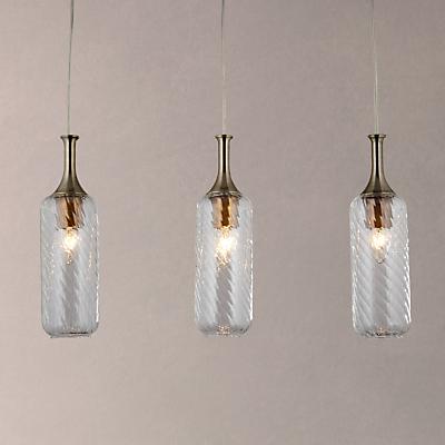 John Lewis Atticus Bottle 3 Light Bar Ceiling Light, Clear
