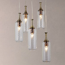 Buy John Lewis Atticus Bottle 5 Light Round Plate Ceiling Light, Clear/Antique Brass Online at johnlewis.com