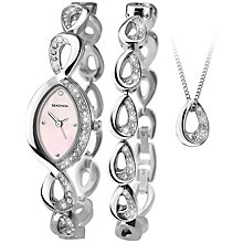 Buy Sekonda 2023G.76 Women's Crystal Jewellery Bracelet Strap Watch, Bracelet and Pendant Necklace Gift Set, Silver/Blush Online at johnlewis.com
