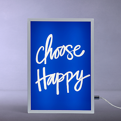John Lewis Choose Happy Small LED Light Box, Blue