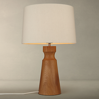 John Lewis Camborne Oak Base Table Lamp, Natural