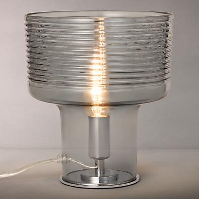 John Lewis Damon Ribbed Glass Vessel Table Lamp, Grey