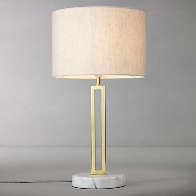 John Lewis Emmerson Twin Post Table Lamp, Satin Brass