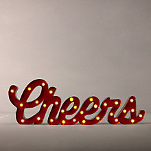 Buy John Lewis Cheers Sign Table Lamp, Red Online at johnlewis.com