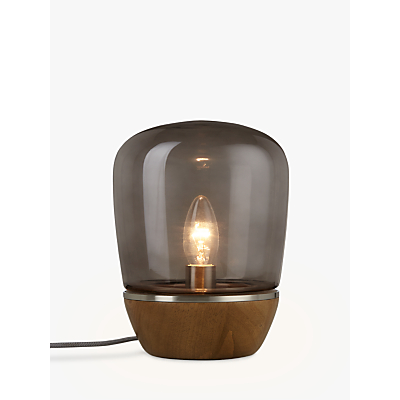 John Lewis Hanna Smoky Glass Table Lamp, Walnut Stain