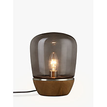 Buy John Lewis Hanna Smoky Glass Table Lamp, Walnut Stain Online at johnlewis.com