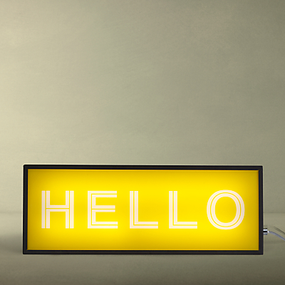 John Lewis Hello Medium LED Light Box, Yellow