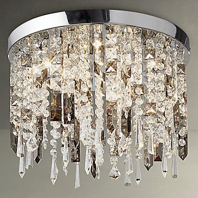 John Lewis Ginevra LED Semi Flush Ceiling Light, Silver/Clear
