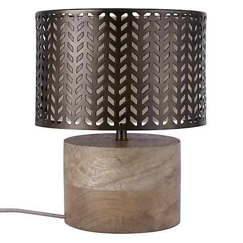 buy john lewis idris wood and metal fret table lamp bronze john lewis. Black Bedroom Furniture Sets. Home Design Ideas