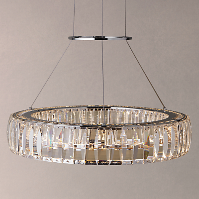 John Lewis Melody Crystal LED Round Diner Ceiling Light, Crystal Clear